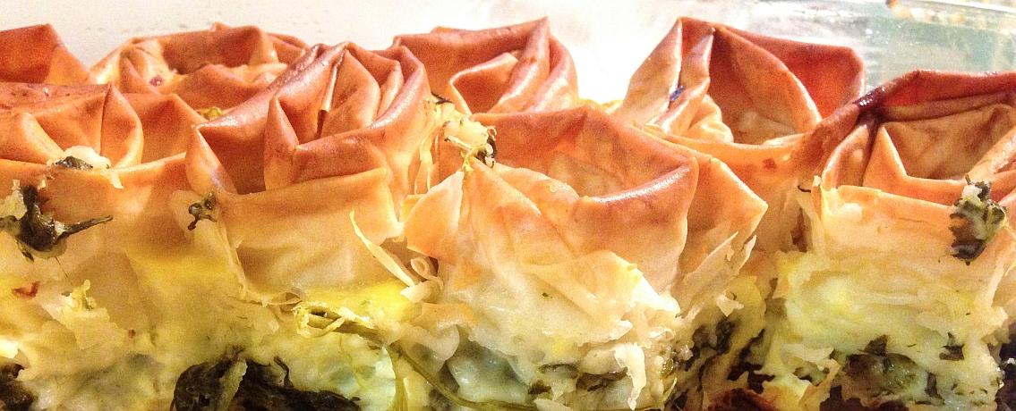 מאפה שושנים ריחני וחגיגי מבצק פילו, תרד וגבינה